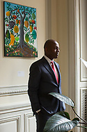 CLIENT: THE WASHINGTON POST<br /> <br /> Paul Altidor, Haiti's ambassador to the United States, poses for a portrait in his office at the Haitian embassy in Washington D.C., on the eighth anniversary of the 2010 earthquake in Haiti.