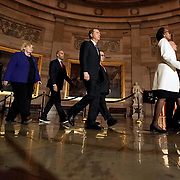 Clerk of the House Cheryl Johnson, House Sergeant of Arms Paul Irving and the seven impeachment managers walk through the Capitol Rotunda to deliver the articles of impeachment against President Trump to the Senate on Wednesday, January 15, 2020.