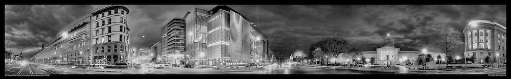 Panoramic Photography of the Newseum on it's opening night on Pennsylvania Avenue in Washington, DC 4/11/2008.  Also seen: The National Gallery of Art and US Capitol. Print Size (in inches): 15x2.5; 24x4; 36x5.5; 48x7.5; 60x9.5; 72x11.