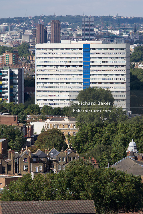 Aerial view of south London looking from Camberwell towards high-rise tower block on the Walworth Road.