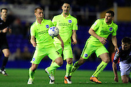 Steve Sidwell of Brighton & Hove Albion (L) in action.<br /> Sky Bet Football League Championship match, Birmingham City v Brighton & Hove Albion at St.Andrew's Stadium in Birmingham, the Midlands on Tuesday 5th April 2016.<br /> Pic by Ian Smith, Andrew Orchard Sports Photography.