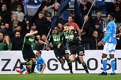 "March 10, 2019 - Reggio Emilia, Italia - Foto Massimo Paolone/LaPresse.10 marzo 2019 Reggio Emilia, Italia.sport.calcio.Sassuolo vs Napoli - Campionato di calcio Serie A TIM 2018/2019 - stadio ""Mapei - Città del Tricolore"".Nella foto: Domenico Berardi (U.S. Sassuolo) esulta dopo aver realizzato il gol 1-0..Photo Massimo Paolone/LaPresse.March 10, 2019 Reggio Emilia, Italy.sport.soccer.Sassuolo vs Napoli - Italian Football Championship League A TIM 2018/2019 - ""Mapei Stadium""..In the pic: Domenico Berardi (U.S. Sassuolo) celebrates after scoring goal 2-0 (Credit Image: © Massimo Paolone/Lapresse via ZUMA Press)"