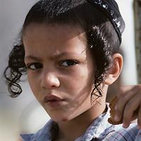 Israel, Jerusalem, Portrait young Orthodox Jewish boy in Ramot Polin suburb