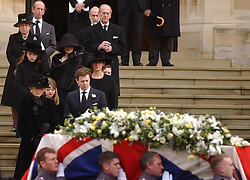 File photo dated 05/01/05 of Princess Alexandra (front, left) following the coffin of her husband Sir Angus Ogilvy. Windsor Castle has been the setting for many funerals for the British monarchy, with the Duke of Edinburgh's service to be the first in 16 years. Issue date: Friday April 16, 2021.