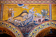 Byzantine mosaics in the Cathedral of Monreale - The Sacrifice of Isaac - Palermo - Sicily Pictures, photos, images & fotos photography .<br /> <br /> If you prefer you can also buy from our ALAMY PHOTO LIBRARY  Collection visit : https://www.alamy.com/portfolio/paul-williams-funkystock/monrealeduomomosaics.html. Refine search by adding subject etc  into the LOWER SEARCH WITHIN GALLERY box. <br /> <br /> Visit our BYZANTINE MOSAIC PHOTO COLLECTION for more   photos  to download or buy as prints https://funkystock.photoshelter.com/gallery-collection/Roman-Byzantine-Art-Artefacts-Antiquities-Historic-Sites-Pictures-Images-of/C0000lW_87AclrOk