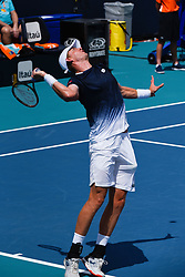 March 25, 2019 - Miami Gardens, FL, U.S. - MIAMI GARDENS, FL - MARCH 25:  Kevin Anderson from South Africa serves in his third round match at the Miami Open on March 25, 2019 at Hard Rock Stadium in Miami Gardens, FL(Photo by Michele Sandberg/Icon Sportswire) (Credit Image: © Michele Sandberg/Icon SMI via ZUMA Press)