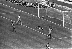 21 June 1970 - FIFA World Cup Final - Brazil v Italy - Brazil captain Carlos Alberto (4) scores past Italy goalkeeper Enrico Albertosi.