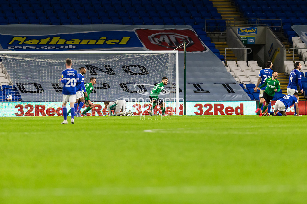 GOAL 1-2 Birmingham City's Ivan Sanchez (17) celebrates scoring his side's second goal during the EFL Sky Bet Championship match between Cardiff City and Birmingham City at the Cardiff City Stadium, Cardiff, Wales on 16 December 2020.