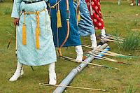 Mongolia, province de Bulgan, fete du Naadam, tournoi de tir a l arc // Mongolia, Bulgan province, Naadam festival, archery tournament