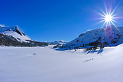 Mount Dana and Tioga Lake in winter, Inyo National Forest, Sierra Nevada Mountains, California