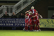2011 FIFA Women's World Cup Qualifying match, Wales v Czech Republic at Stebonheath Park, Llanelli on Wed 23rd September 2009. pic by Andrew Orchard..Wales players celebrate the goal scored by Emma Plewa