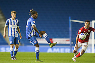 Brighton defender, full back, Gaetan Bong (12) passes the ball during the Sky Bet Championship match between Brighton and Hove Albion and Bristol City at the American Express Community Stadium, Brighton and Hove, England on 20 October 2015. Photo by Phil Duncan.