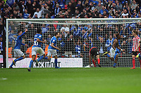 Football - 2019 EFL Checkatrade Trophy Final - Sunderland vs. Portsmouth<br /> <br /> Jamal Lowe of Portsmouth takes his shirt off after scoring the second goal , at Wembley.<br /> <br /> COLORSPORT/ANDREW COWIE