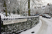 The privately-maintained Court Lane Gardens in Dulwich Village, Southwark during mid-winter snow.