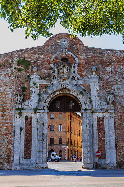 Porta Camollia in  Siena,Italy. Porta Camollia is one of the northern portals in the medieval walls of Siena, Italy.