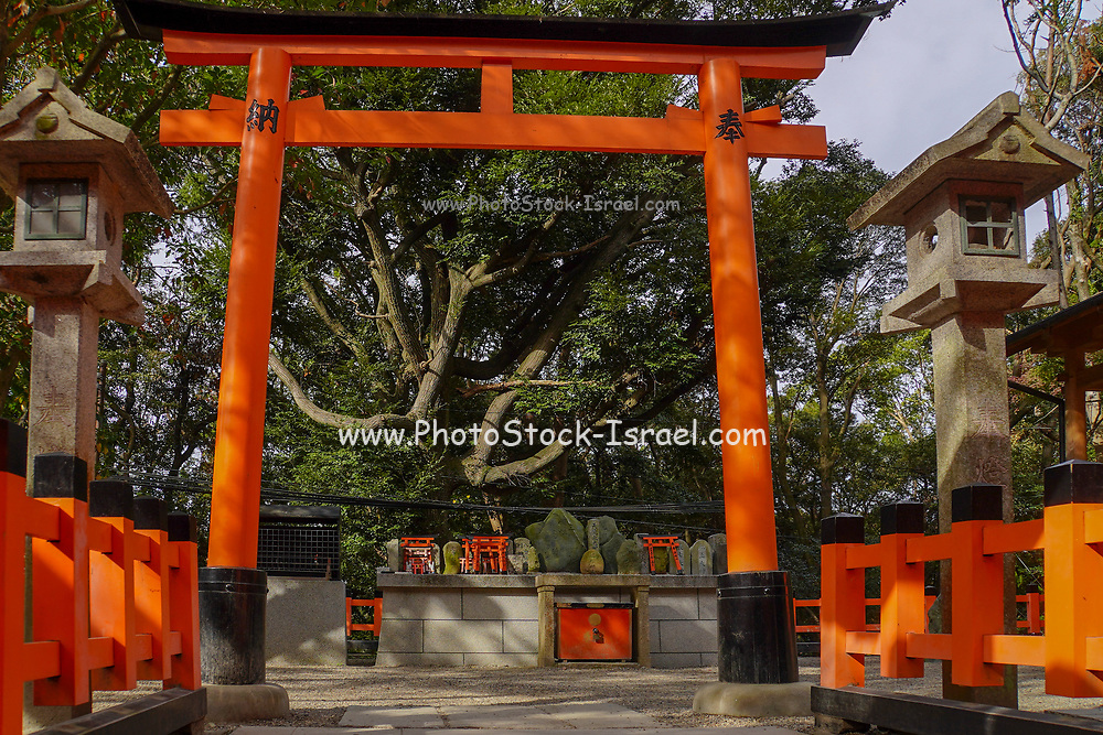 Japan, Kyoto, Fushimi Inari Taisha is the head shrine of the god Inari, located in Fushimi Ward in Kyoto, Japan. The shrine sits at the base of a mountain also named Inari which is 233 metres (764 ft) above sea level, and includes trails up the mountain to many smaller shrines which span 4 kilometres (2.5 mi) and take approximately 2 hours to walk up. First and foremost, Inari is the god of rice, but merchants and manufacturers have traditionally worshiped Inari as the patron of business. Each of the torii at Fushimi Inari Taisha has been donated by a Japanese business.