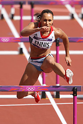 Jessica Innes of Great Britain competes in the 100m Hurdles as part of the Women's Heptathlon during day 1 of athletics held at the Olympic Stadium in Olympic Park in London as part of the London 2012 Olympics on the 3rd August 2012..Photo by Ron Gaunt/SPORTZPICS