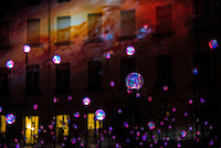 LYON, FRANCE - DECEMBER 04: For four nights over 70 light installations will create a magical atmosphere in the streets, squares and parks all over the city and millions of visitors both French and from abroad will enjoy the friendly and joyful spirit of this unique event on December 4, 2014 in Lyon, France. (Photo by Bruno Vigneron/Getty Images)<br /> Laniakea<br /> Place Antonin Poncet , Lyon 2<br /> Artists: Simon Milleret-Godet & Jérôme Donna<br /> Dive into the depths of a cosmic experience and confront light particles that scintillate by the thousands in the dark. Observe this hypnotic ballet of clouds, clusters of lighted dots and stars that, just like a galaxy, shape themselves into constellation and then disintegrate.<br /> Opening hoursFriday 5th and Saturday 6th: from 6 p.m to 1 a.mSunday 7th: from 5:30 p.m to midnightMonday 8th: from 6 p.m to midnight<br /> Metro Line A/D - Bellecour stop