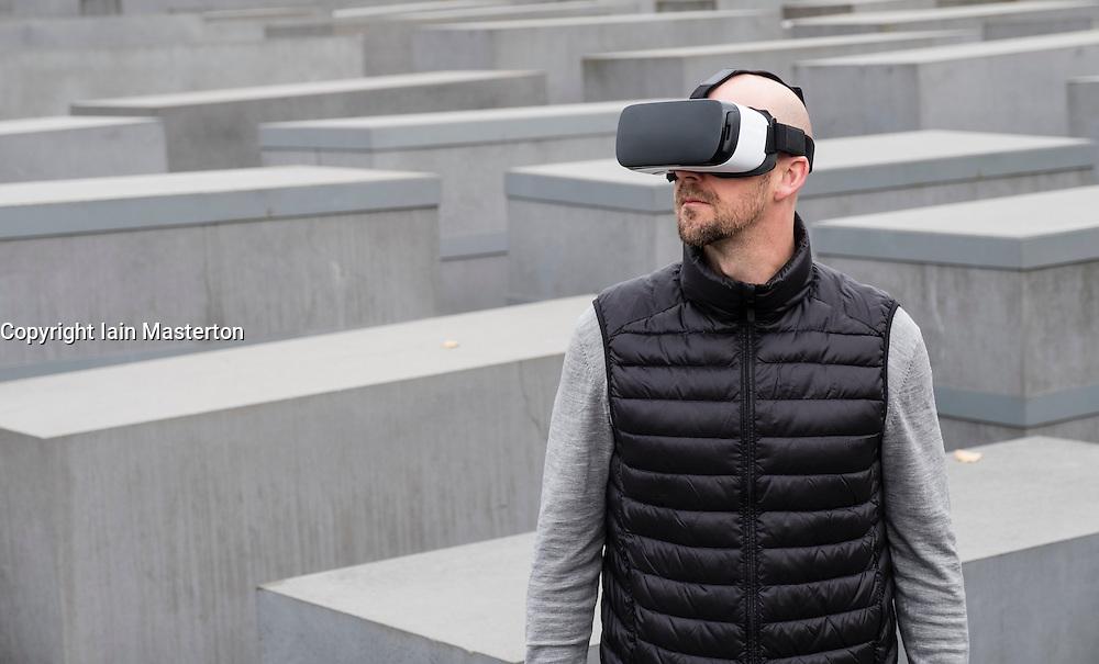 Man wearing VR virtual reality headset