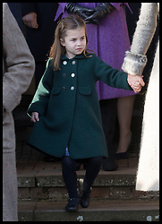December 25, 2019, Sandringham, London, United Kingdom: Image licensed to i-Images Picture Agency. 25/12/2019. Sandringham, United Kingdom. Princess Charlotte attempts a curtsey to The Queen as she leaves the Christmas Day church service at Sandringham in Norfolk, United Kingdom. (Credit Image: © Stephen Lock/i-Images via ZUMA Press)