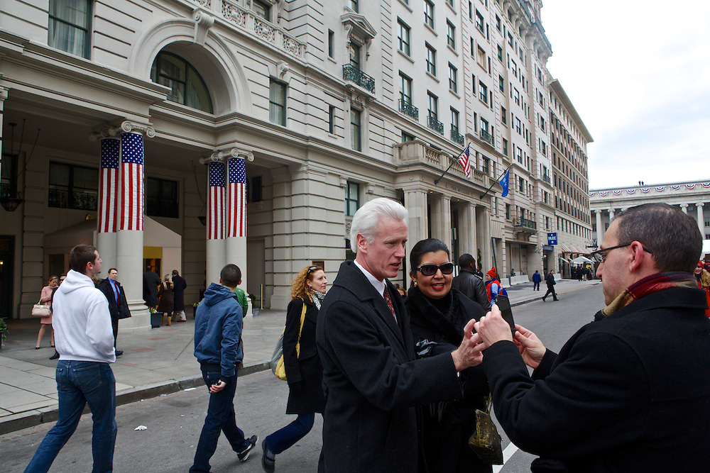 Patrons of the WIllard Hotel exit on to F Street during at the inauguration ceremonies of Pres. Barack Obama on January 21, 2013 in Washington, D.C.