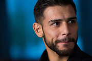 DALLAS, TX - MAY 10:  Yair Rodriguez speaks to the media during the UFC 211 Ultimate Media Day at the House of Blues Dallas on May 10, 2017 in Dallas, Texas. (Photo by Cooper Neill/Zuffa LLC/Zuffa LLC via Getty Images) *** Local Caption *** Yair Rodriguez