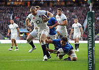 Rugby Union - 2017 Old Mutual Wealth Series (Autumn Internationals) - England vs. Samoa<br /> <br /> Mike Brown of England evades a tackle from Chris Vui  to score the first try, at Twickenham.<br /> <br /> COLORSPORT/ANDREW COWIE
