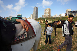 Young boys rent horses along the along the Corniche, a walkway along the Mediterranean Sea, Beirut, Lebanon, March 26, 2006. Several horses are available for short rides near the water, a common leisure activity for less wealthy residents of Beirut.