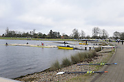 Eton, GREAT BRITAIN,  GV, General View, scullers boating, GB Trials 3rd Winter assessment at,  Eton Rowing Centre, venue for the 2012 Olympic Rowing Regatta, Trials cut short due to weather conditions forecast for the second day Saturday  12/02/2011   [Photo, Peter Spurrier/Intersport-images]