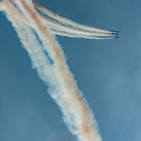 The U.S. Navy Blue Angels flying team entertains visitors to 2019 Fleet Week in San Francisco, California,