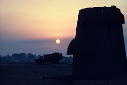 Ottoman era water tower at sunrise in Saudi Arabia.