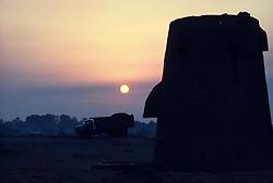 Ottoman era water tower at sunrise in Saudi Arabia.