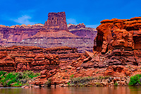 Airport Tower, Meander Canyon, Colorado River, Canyonlands National Park, Utah, USA
