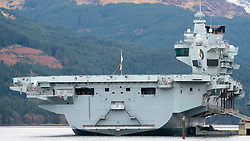 Detail of Royal Navy HMS Queen Elizabeth aircraft carrier berthed at Glenmallan on Loch Long, Argyll and Bute, Scotland