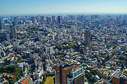 Elevated cityscape of Tokyo, Japan