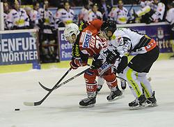 14.12.2014, Stadthalle, Klagenfurt, AUT, EBEL, EC KAC vs Dornbirner Eishockey Club, 27. Runde, im Bild Manuel Geier (EC KAC, #21), Philip Putnik (Dornbirner Eishockey Club, #89) // during the Erste Bank Icehockey League 27th round match betweeen EC KAC and Dornbirner Eishockey Club at the City Hall in Klagenfurt, Austria on 2014/12/14. EXPA Pictures © 2014, PhotoCredit: EXPA/ Gert Steinthaler