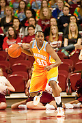Jan 8, 2012; Fayetteville, AR, USA; Tennessee Lady Volunteers guard Shekinna Stricklen (40) dribbles the ball during a game against Arkansas Razorbacks at Bud Walton Arena. Tennessee defeated Arkansas 69-38. Mandatory Credit: Beth Hall-US PRESSWIRE
