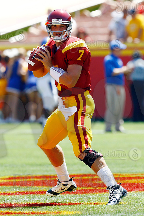 5 September 2009: True freshman quarterback #7 Matt Barkley of the University Southern California USC Trojans Pac-10 college football team during a 56-3 victory over the WAC San Jose State Spartans at the Los Angeles Memorial Coliseum in Southern California.  Barkley is 18 years old in his first year in college after attending Mater Dei High School. He had 15 for 19 for 233 yards, 1 touchdown and no turn overs in his first college football game.