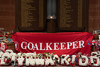 Football - 2020 / 2021 Champions League - Group D - Liverpool vs Atalanta - Anfield<br /> <br /> <br /> A banner with goalkeeper printed on it is displayed on the Hillsborough Memorial at Anfield in respect to the death or Ray Clemence.<br /> <br /> <br /> COLORSPORT/TERRY DONNELLY