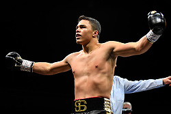 April 13, 2018 - Minnesapolis, MN, USA - Joey Spencer, of Linden, Mich., celebrates after knocking down Ousmane Sylla, of Conway, Ark., in the first round at the Armory in Minneapolis on Friday, April 13, 2018. (Credit Image: © Aaron Lavinsky/TNS via ZUMA Wire)