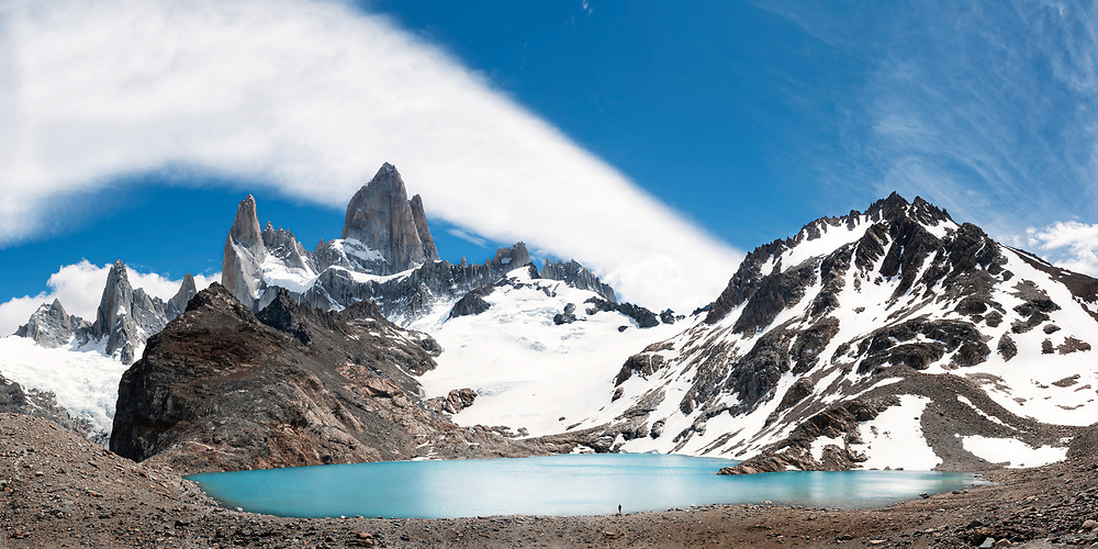 Panoramic view of Mt Fitzroy and Laguna de los Tres in Los Glaciares National Park in Argentina, South America.