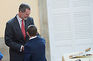 King Felipe VI of Spain attends 38th edition of the school contest 'What is a King for you?' at El Pardo Royal Palace on March 9, 2020 in Madrid, Spain