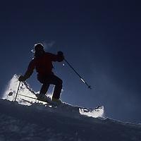 Roger Markel powder skiing on Cue Ball at Big Sky, Montana.