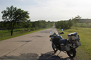 BMW R1200GS on a road in central Oklahoma.