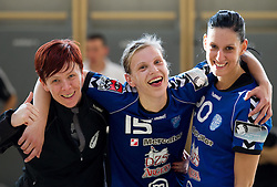Sergeja Stefanisin Barbara Varlec Lazovic and Alja Koren of Krim celebrate after the last game of 1st A Slovenian Women Handball League season 2011/12 between ZRK Krka and RK Krim Mercator, on May 8, 2012 in Stopice at Novo mesto, Slovenia. RK Krim Mercator became Slovenian National Champion, GEN-I Zagorje placed second and ZRK Krka placed third. (Photo by Vid Ponikvar / Sportida.com)