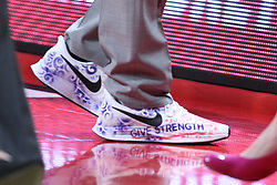 NORMAL, IL - February 10: One of a kind Play4Kay sneakers worn by Kristen Gillespie during a college women's basketball Play4Kay game between the ISU Redbirds and the Indiana State Sycamores on February 10 2019 at Redbird Arena in Normal, IL. (Photo by Alan Look)