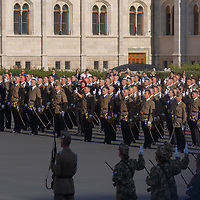 Army officers graduating from the National University of Public Service take their oath of office during a ceremony in front of the Parliament on Hungarian national holiday in Budapest, Hungary  on Aug. 20, 2020. ATTILA VOLGYI