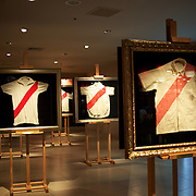 Historical football shirts on display in the museum at River Plates' El Monumental stadium, Buenos Aires, Argentina, 25th June 2010. Photo Tim Clayton.