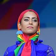 London, England, UK. 7th July 2018. Presenter of the Pride parade in Trafalgar Square, London, UK on 7th July 2018.