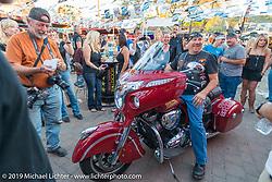 Indian Bike give-away at the Hideaway in Cavecreek, AZ during Arizona Bike Week. USA. April 6, 2014.  Photography ©2014 Michael Lichter.